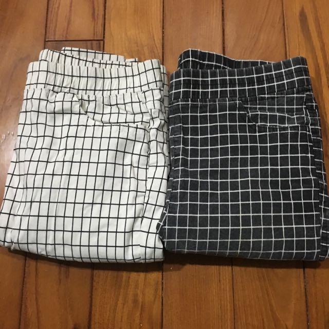 格紋長褲黑與白🎹