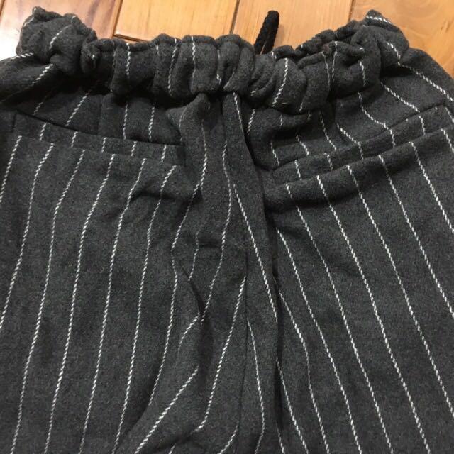 直條紋毛料哈倫褲兒