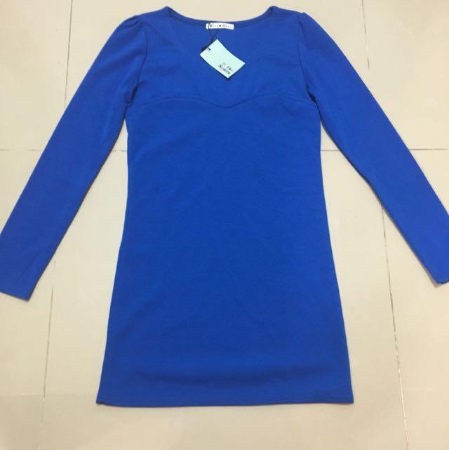 藍色長版上衣洋裝/全新