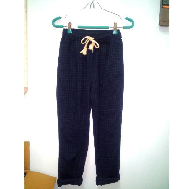 復古雙口袋抽繩棉質老爺褲(保留)