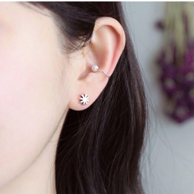 韓國復古珍珠純銀耳骨夾