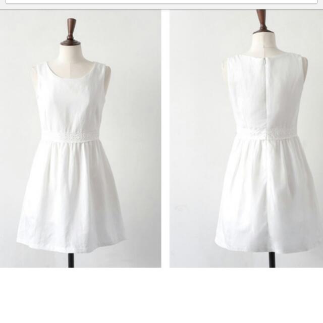 (全新200)棉麻無袖收腰修身洋裝-白