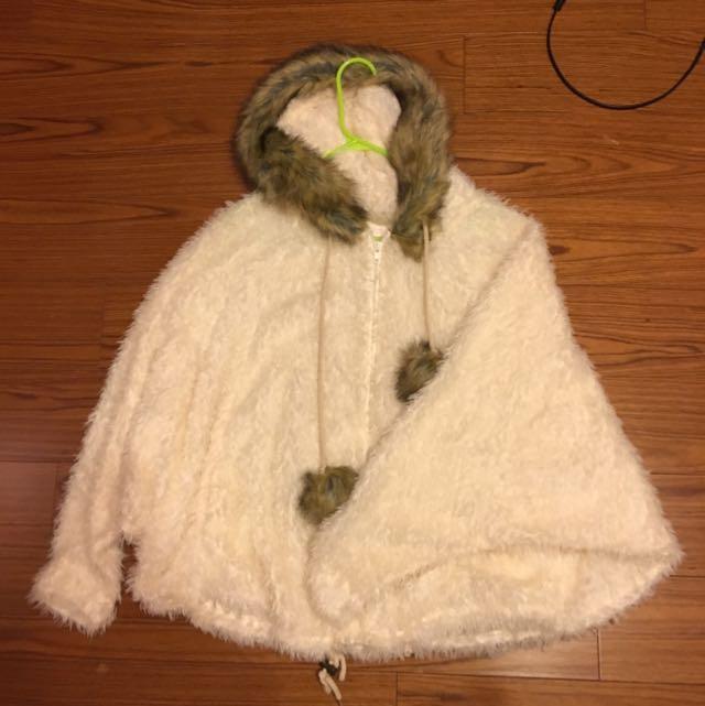 毛毛披風外套❤️二手 波西尼亞風