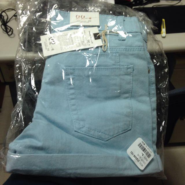 [全新]藍色短褲 尺寸L號