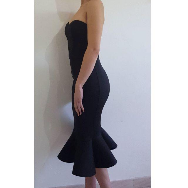 ASOS Black peplum strapless pencil dress