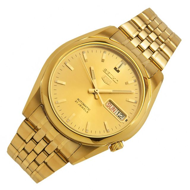 2862ac5a3 (RESERVED) Seiko 5 Automatic 21 Jewels Gold Tone Gold Dial Watch SNKL28,  Men's Fashion on Carousell