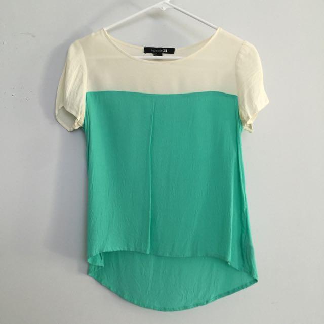 Cream + mint colourblock top Forever 21 Size S
