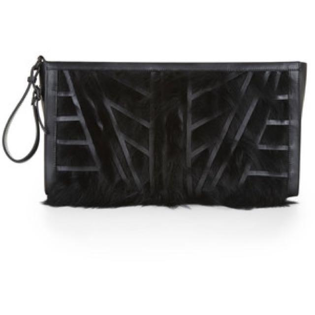 AUTHENTIC Hervé Léger Faux-Fur Geometric Oversized Clutch