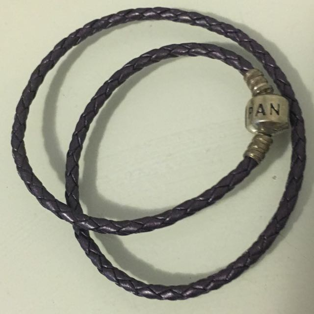 Pandora Purple Woven Leather Bracelet