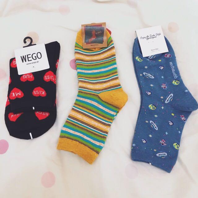 全新日本Wego中筒襪條紋、愛心、愛心KISS(3雙)