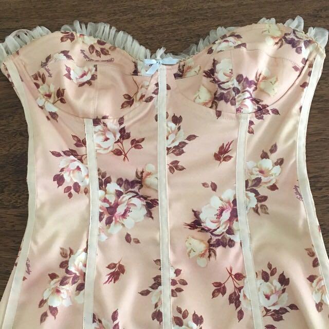 Wheels and Dollbaby Strapless cornflower dress