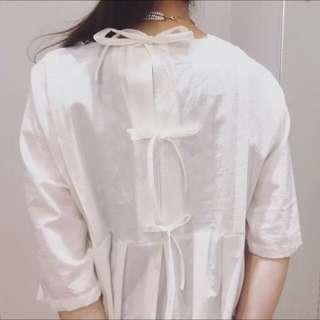 Ehka Sopo森林系後綁帶蝴蝶結日系棉麻洋裝純白連身裙長版日本古著vintage透明感sm2