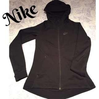 Nike專櫃購買女生修身拉鍊連帽外套帽T 黑色S 版型挺 高領