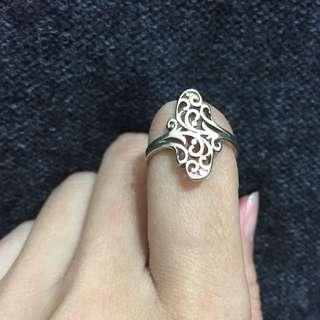 銀質感植物藤蔓雕花戒指