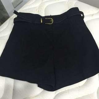 麂皮黑色顯瘦高腰短褲熱褲附皮帶腰帶