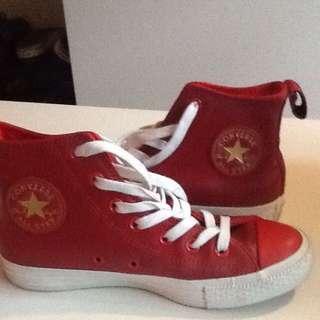converse紅色皮革球鞋真品