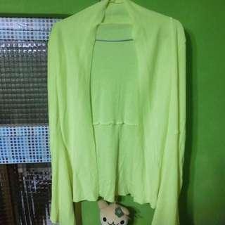 螢光黃長版罩衫