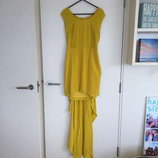 Sass And Bide Mustard Cocktail Dress With Trail