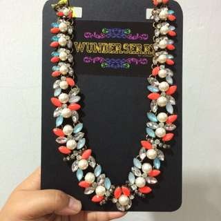 Blue And Orange Pearl Necklace