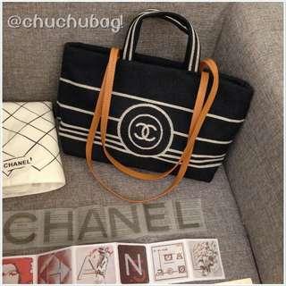 實拍 Chanel 40cm 布面手提背包 單寧 牛仔 布包
