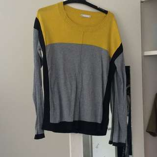 Stylish Jumper, Mustard Black And Grey, Size S/10