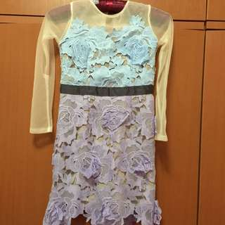 Pretty Elegant Pastel Color Hand Sew Dress