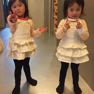 Baby Gap 純白燈芯絨吊帶裙