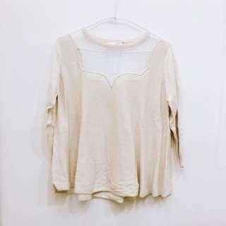 春裝✨ 全新日牌 ココディール 透膚拼接杏色薄針織五分袖上衣