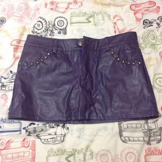 紫色,皮製迷你窄裙