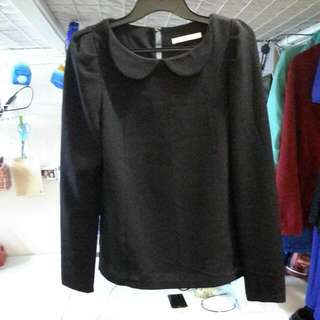 Korean Black Round Collar Shirt