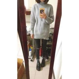 🌷含運🌷灰色長版高領毛衣