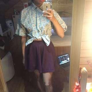 VINTAGE Button Up Floral Shirt (size 8) & Maroon Skater Skirt (size 8)