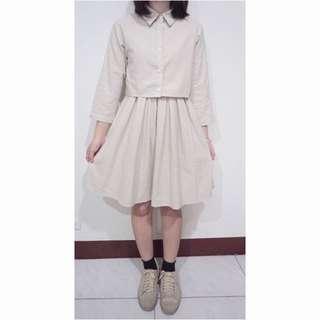 森林系兩件式洋裝細條紋襯衫連身裙方領背心裙日系sm2宮崎葵可愛日本透明系短版上衣