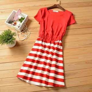Brand New Red Strip Dress