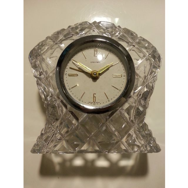 (Sold - N..) 1920s VINTAGE (UNICORN - ROLEX Subsidary company) CUT GLASS / CRYSTAL MANTEL CLOCK made Germany