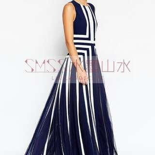 Blue / White Strip Long Dress For Big Girl