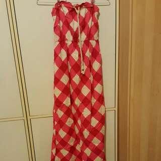 (全新)GAP粉色格紋平口連身長裙
