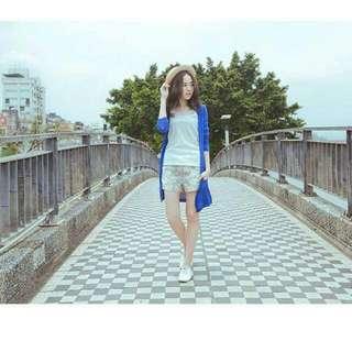 深藍 薄針織長版外套 口袋 防曬外套