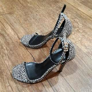 黑白露趾高跟涼鞋 (編號51)