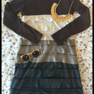 Long Sleeved Brown Dress