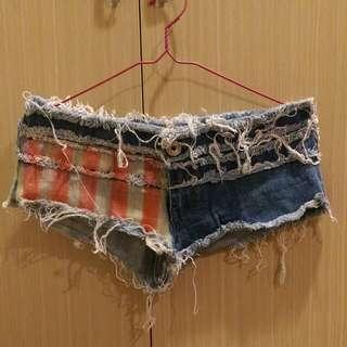 歐美超短破損設計熱褲