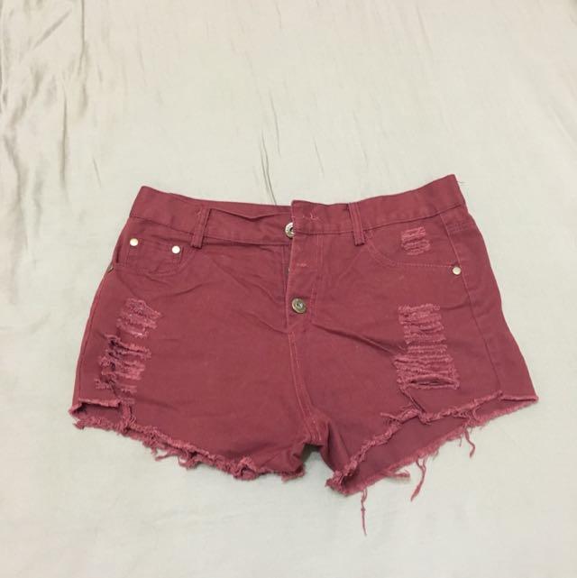 酒紅 短褲