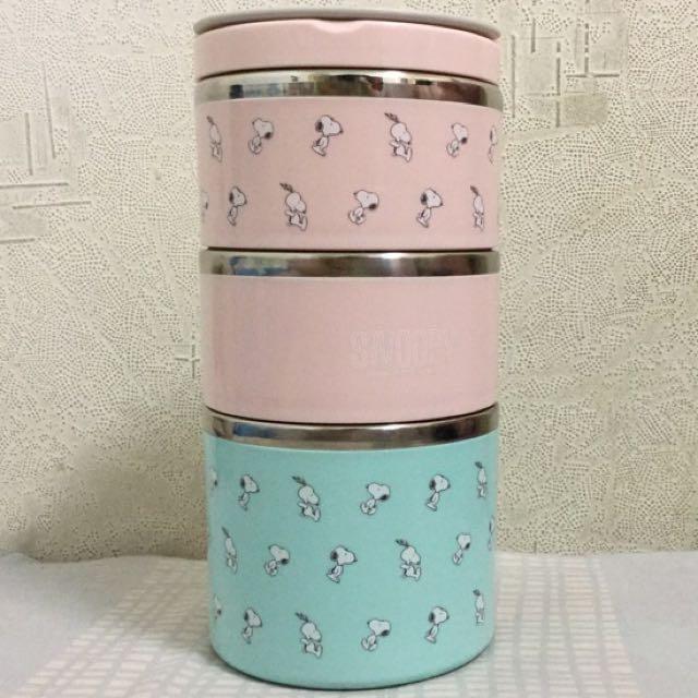 史努比馬卡龍三層保溫餐盒組