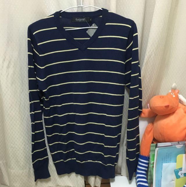 深藍條紋針織上衣