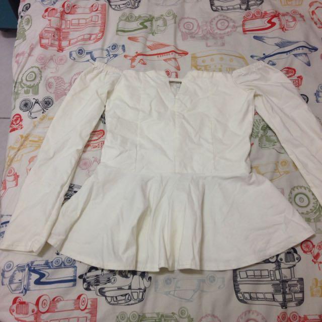 性感一字領上衣,白色