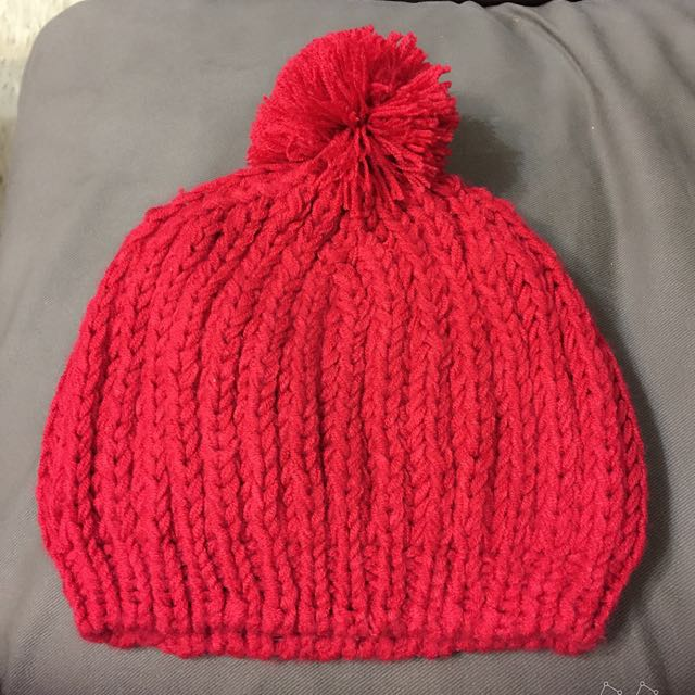 全新歐美街頭百搭款紅色毛線球球帽子