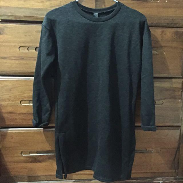 韓版開杈長版毛衣