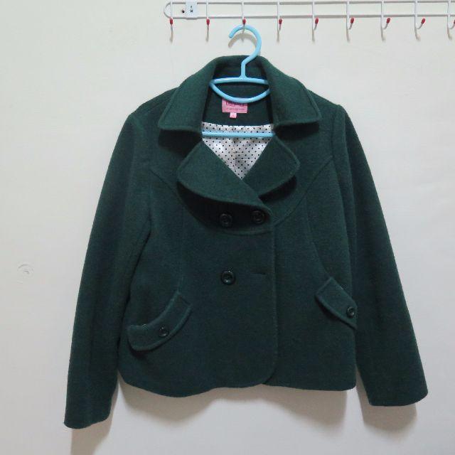降價出清~~綠色厚羊毛呢短版挺大衣外套