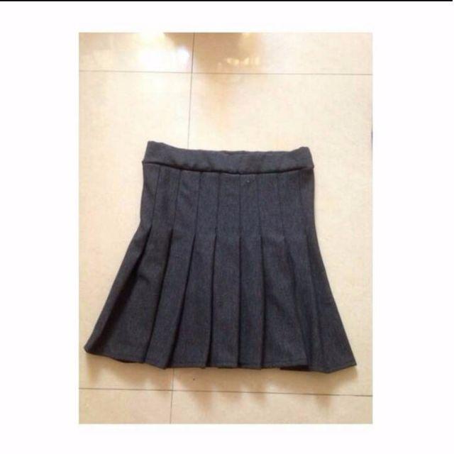 韓灰色百褶褲裙