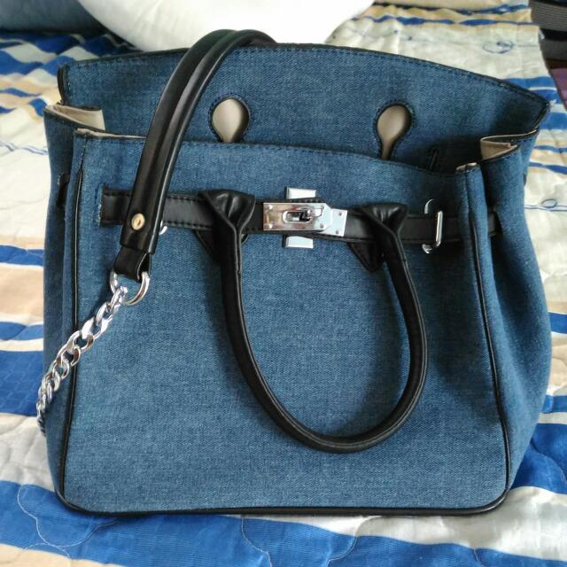 (降)真的非常便宜 藍色牛仔布 2way包 鏈帶 手提包 側背包 斜背包 方包
